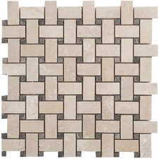 "Travertine Basketweave Filled and Honed 12.5"" x 12.5"" Tile in Light Ivory"