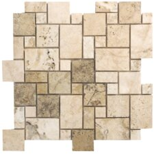 "Philadelphia Travertine Mosaic Mini Pattern Filled and Honed 13"" x 13"" Tile in Beige and Gray"