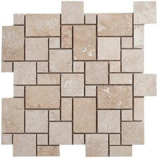 Travertine Random Sized Mini Pattern Filled and Honed Tile in Light Ivory