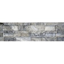"Travertine Cubic Honed Wall Cladding 20"" x 7"" Tile in Silver and Gray"