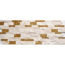 "Travertine Split Face Wall Cladding 20"" x 7"" Tile in Ivory-Noce Mix"