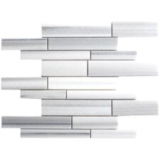 "Equator Marble Mosaic Random Strip Polished 16"" x 12"" Tile in White and Gray"