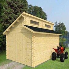 Garage Log Cabin with Double Doors