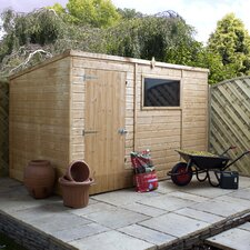 Shiplap OSB Pent Shed with Single Door and Pad Bolt