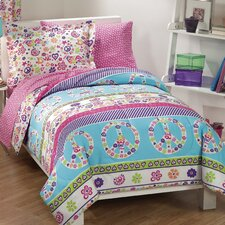 Peace and Love 5 Piece Bed in a Bag Set