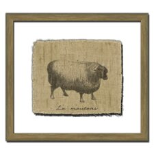 Sheep on Linen I Wall Art