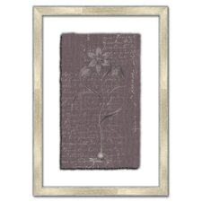 Floral Stems on Linen with Writing V Framed Graphic Art