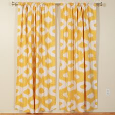 Geometric Squares Rod Pocket Curtain Single Panel