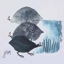 Three Guinea Fowl by Julia Burns Wall Art