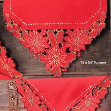 <strong>Xia Home Fashions</strong> Holiday Spirit Embroidered Cutwork Holiday Table Runner