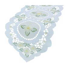 Elegant Daisy Embroidered Cutwork Table Runner