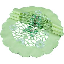Emerald Mariposa Embroidered Cutwork Round Doily (Set of 4)