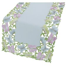 <strong>Xia Home Fashions</strong> Butterfly Minuet Embroidered Cutwork Table Runner