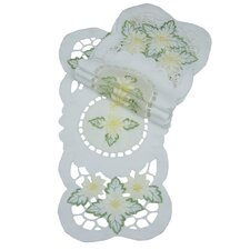 Elegant Daisy Embroidered Cutwork Traycloth Runner (Set of 4)