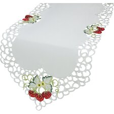 Strawberry Embroidered Cutwork Table Runner
