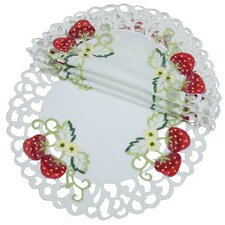 Strawberry Embroidered Cutwork Round Doily (Set of 4)