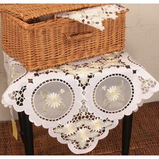 Elegant Daisy Embroidered Cutwork Table Topper