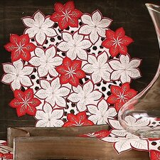 Candy Cane Poinsettia Embroidered Cutwork Holiday Placemat (Set of 4)