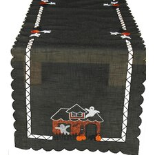 <strong>Xia Home Fashions</strong> Haunted House Embroidered Cutwork Table Runner