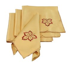 Bountiful Leaf Embroidered Cutwork Harvest Napkin (Set of 4)