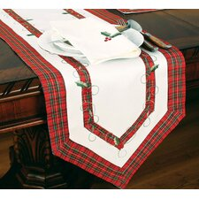 Tartan Ribbon Embroidered Holiday Table Runner