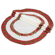 Tartan Ribbon Embroidered Holiday Placemat (Set of 4)