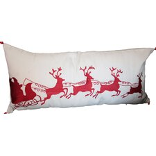 Holiday Sleigh with Bells and Reindeer Pillow