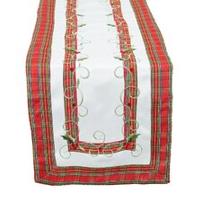 <strong>Xia Home Fashions</strong> Tartan Ribbon Embroidered Holiday Table Runner