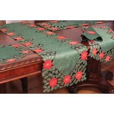 Holly Leaf Poinsettia Runner and Napkin Set