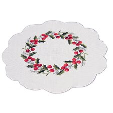 Holly Berry Embroidered Hemstitch Round Holiday Doily (Set of 4)