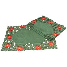 Holly Leaf Poinsettia Embroidered Cutwork Holiday Placemat (Set of 4)