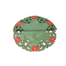 Holly Leaf Poinsettia Embroidered Cutwork Round Holiday Doily (Set of 4)