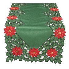 Holly Leaf Poinsettia Embroidered Cutwork Holiday Table Runner