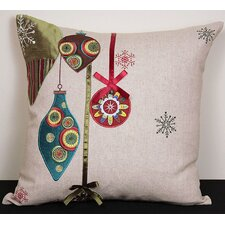 Noel Ornaments Embroidered Holiday Pillow
