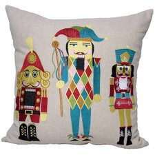 Classic Christmas Nutcracker Embroidered Holiday Pillow