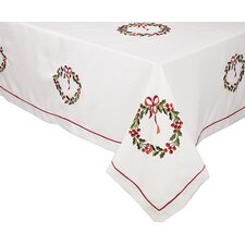 Country Wreath Embroidered Hemstitch Round Holiday Tablecloth