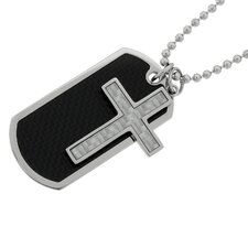 Stainless Steel Cross and Dog Tag Pendant