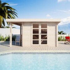 "Moderna 13' W x 9'9"" D Solid Wood Pool House and Garden Shed"
