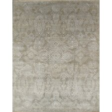 Modern Transitional Contemporary Hand-Knotted Wool Gray Area Rug