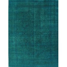 Transitional Overdyed Persian Blue Area Rug