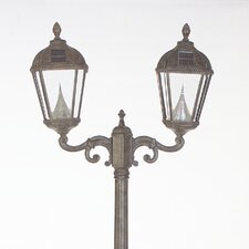 "Victorian 2 Light 89"" Solar Post Lantern Set"