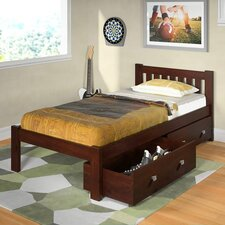 Donco Kids Twin Slat Bed with Dual Underbed Drawers