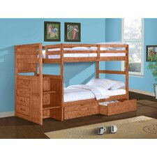Ranch Twin Standard Bunk Bed with Dual Underbed Drawer and Stairway