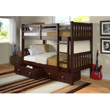 Twin Over Twin Bunk Bed with Dual Under Bed Drawers