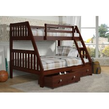 Twin Over Full Bunk Bed with Dual Under Bed Drawers