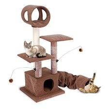 "18.75"" Activity Lounging Tower and Tunnel with Retreat Hide-Away Cat Tree"