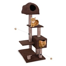 "15.5"" Dual Hide-Away and Lounge Tower with Bamboo Rubbing Post Cat Tree"