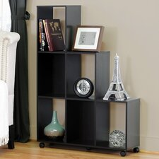Baxton Studio Hexham Rolling Display Shelving Unit and Room Divider in Brown