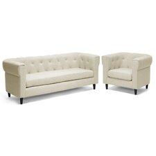 Baxton Studio Cortland Chesterfield Sofa Set