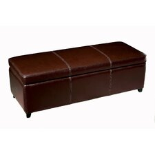 Philostrate Leather Storage Ottoman Bench